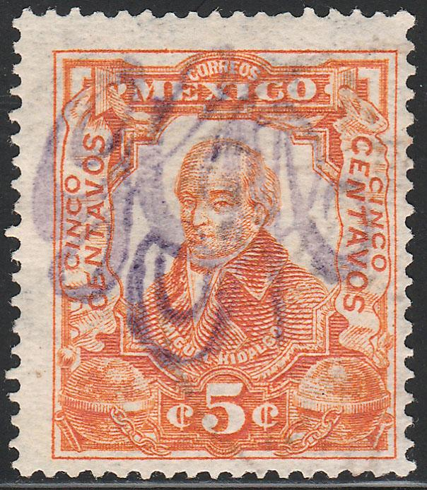 MEXICO 374, 5c LARGE MONOGRAM HANDSTAMP, MINT, NH. F-VF.
