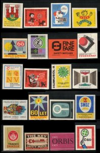 LOT OF 20 DIFFERENT OLD MATCHBOX LABELS FROM EUROPE, CINDERELLA