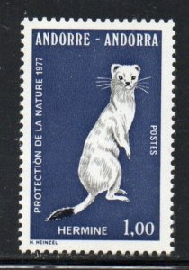 Andorra (Fr) Sc 253 1977 Ermine Nature Protection stamp  mint NH