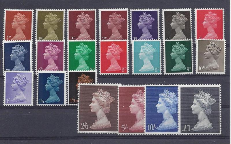 Great Britain, MH1-MH21,Elizabeth II Machins Singles,**MNH**