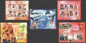 NS 2007 GUINEA-BISSAU MILLENNIUM STARS MUSIC & CINEMA BRUCE LEE !!! 3BL+2KB MNH