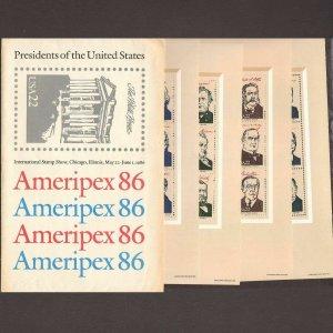Ameripex '86 President Souvenir Sheets Sc# 2216-2219  ⭐⭐⭐⭐⭐⭐