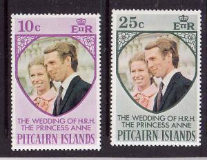 Pitcairn Is-Sc#135-6-unused light hinge set-Royal Wedding-Princess Anne-1973-