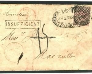 MALAYA Singapore Cover 1875 FAC Cancel INSUFFICIENT Taxe France {samwells}MC38