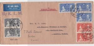 Straits Settlements Malaya 1937 Airmail by K.L.M. Multiple Stamps Cover Rf 33217