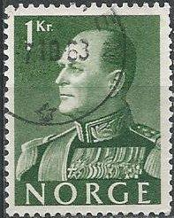 Norway 370 (used) 1k Olav V, green (1959)