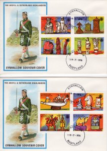 Eynhallow 1976 Chess Pieces-Rotary International Set (8) IMPERFORATED  FDC..
