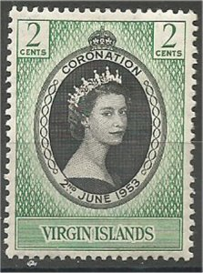 VIRGIN ISLANDS,1953, MH, 2c, Coronation Scott 114
