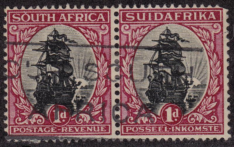 SOUTH AFRICA Used Scott # 34 Ship Perf 15 x 14 pair - corner perf loss (2 Stmps)