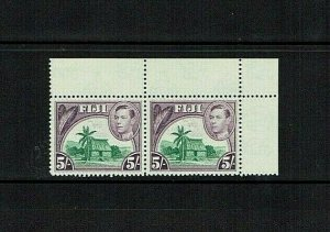 Fiji: 1938, King George VI definitive, 5/- joined marginal pair, MNH