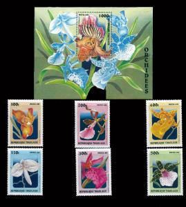 Withdrew 02-13-19-Togo 1999 – Orchids On Stamps 6 Stamp Set +  S/S 20H-801