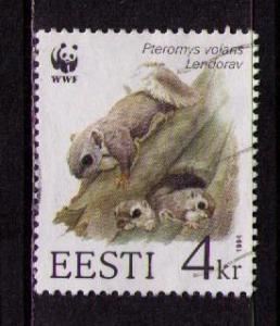 ESTONIA Sc# 273 USED FVF Flying Sqirrel & Nest w/ Babies