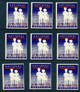 11 VINTAGE NATIONAL CHILDREN'S WEEK POSTER STAMPS L497) CHILD WELFARE MARCH 6-12