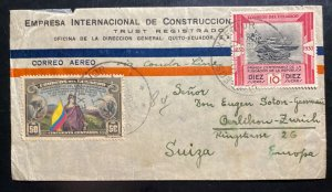 1938 Quito Ecuador Airmail Commercial Cover To Zurich Switzerland