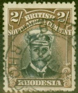 Rhodesia 1913 2s Black & Brown SG214 Die I Fine Used