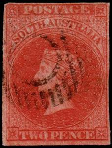 South Australia Scott 6 (1856) Used F-VF, CV $90.00 M