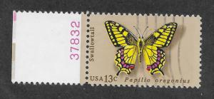 1712 Used 13c. Butterfly, Plate # Single, Free, Insured Shipping