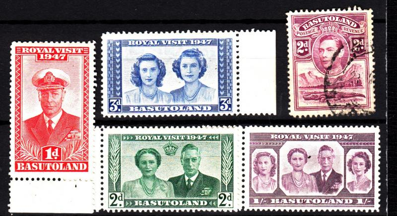 Basutoland 3 used, 35-38 mnh set