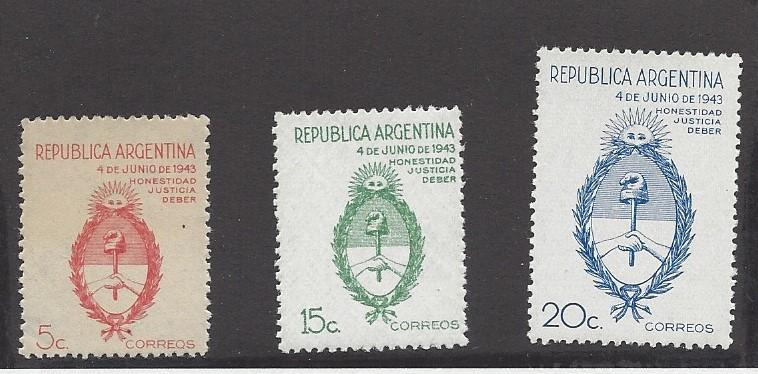 Argentina, 508, 510-11, Arms of Argentina Singles, MNH