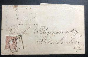 1860 Prague Austrian Empire Vintage Letter Cover To Reichenberg