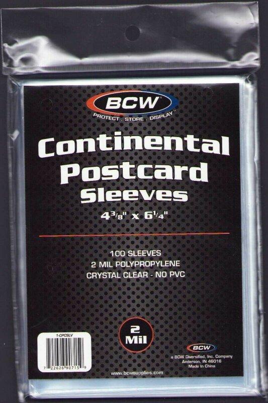 100 CONTINENTAL EUROPEAN POSTCARD SLEEVES 4-3/8 x 6-1/4 CRYSTAL CLEAR