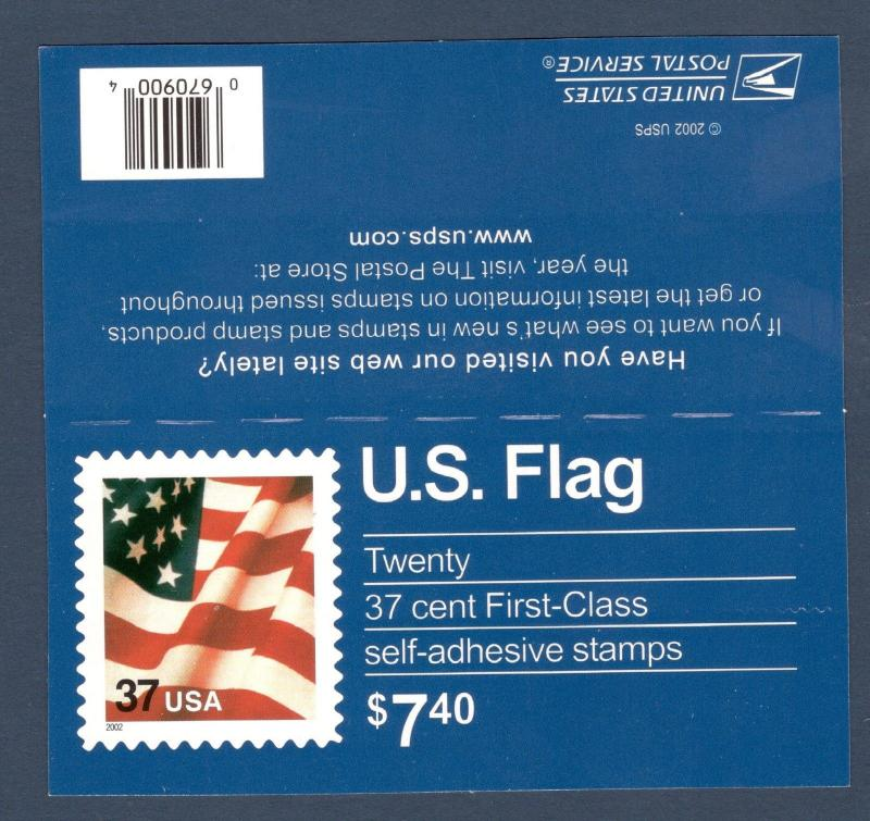 3635 (CF1) Postal Counterfeit (Scarce) Flag Booklet Pane Of 20 Mint/nh (JD-4)