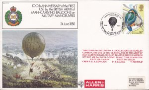 Great Britain 1980 Special Balloon Cover.100 year Anniversary of Military Usage