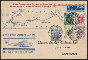 HONG KONG 1937 First flight cover to San Francisco - nice franking..........8269