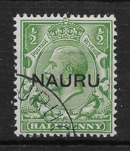 NAURU SG13 1923 ½d GREEN OVPT IN CENTRE USED