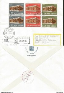 J) 1967 VATICAN CITY, EUROPA CEPT, MULTIPLE STAMPS, REGISTERED, AIRMAIL, CIRCULA