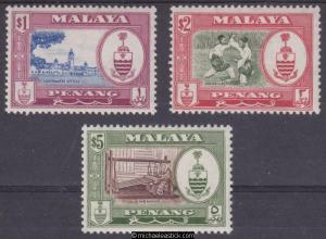1960 Malaya Penang $1-$5 Scenes (3), SG 63-65, MH