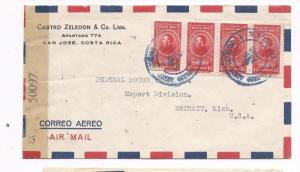 Costa Rica 1945 A/M Censor cover to USA (bah)