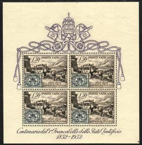 1952 Vatican Roman States Stamp & Stagecoach SS Souvenir Sheet MNH Sc# 155a