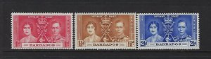 BARBADOS SCOTT #190-192 1937 GEORGE VI CORONATION ISSUE  - MINT LIGHT HINGED