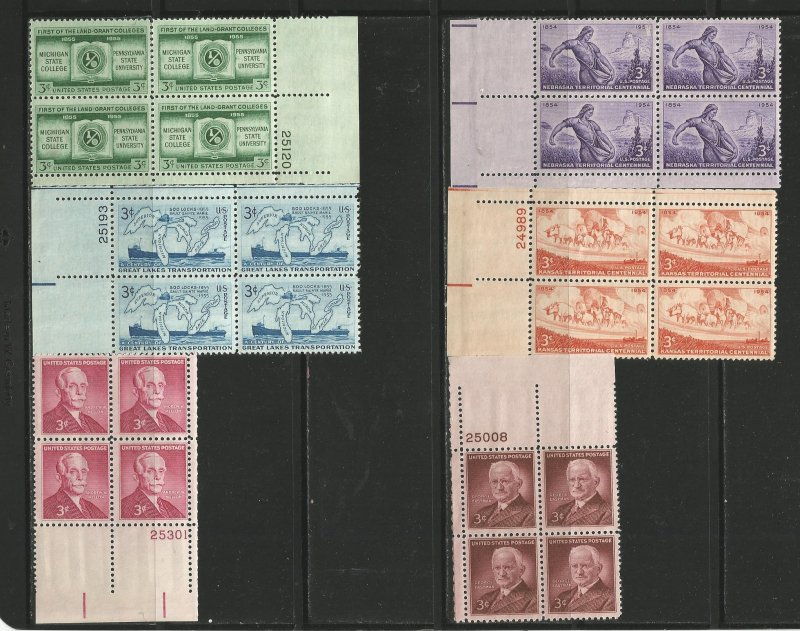USA Stamps #1060,1061,1062,1065,1069,1072 Plate Blocks of 4