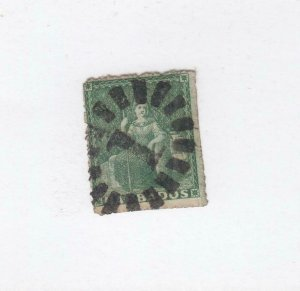 BARBADOS (MK3835) # 15  F-USED  1/2d  BRITANNIA /GREEN/ #1 CANCEL CAT VALUE $48