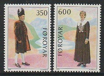 1989 Faroe Islands - Sc 189-90 - MNH VF - 2 single - Folk Costumes