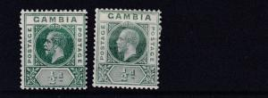 GAMBIA  1912 - 22  SG 86 + 86A   2 X 1/2D  VALUES MH