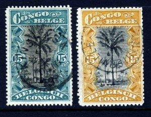 BELGIAN CONGO 1910-15 15 Cents Both Colours SG 62 & SG 72b VFU