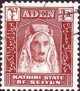 ADEN KATHIRI STATE SEIYUN 1942 3/4a Brown SG2 Fine Used