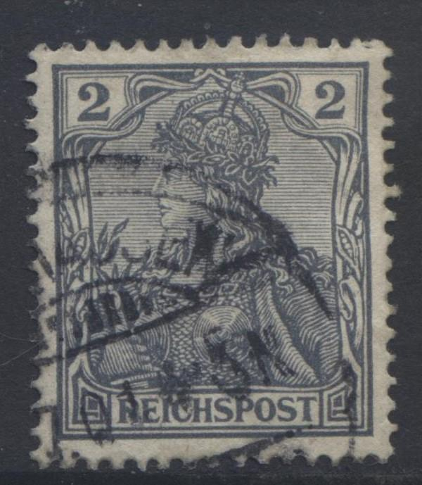GERMANY. -Scott 52 - Definitives -1900 -Used - Grey -Single 2pf Stamp3