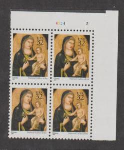 U.S. Scott #3003 Christmas Madonna Stamps - Mint NH Plate Block