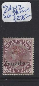 ZANZIBAR  (PP0512B)  ON INDIA QV 1A 2 1/2 IN RED  SG 34  MOG   SCARCE
