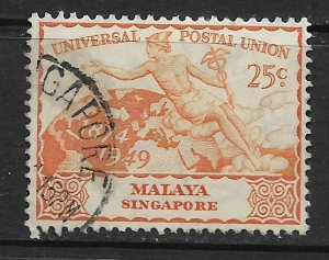 SINGAPORE, 25, USED, UNIVERSAL POSTAL UNION