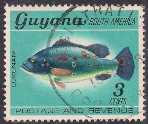 Guyana 1968 QE2 3ct Peacock Cichild Used SG 450 ( E1207 )