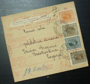Yugoslavia 1929 Parcel Card from Sarajevo Bosnia to Zagorje Croatia A10