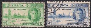 Malta 1946 KGV1 Set Victory Used SG 232 - 233 ( C599 )