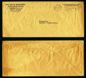 Official Cover from Post Office, Washington, D.C. to Chester, PA dated 8-11-1934