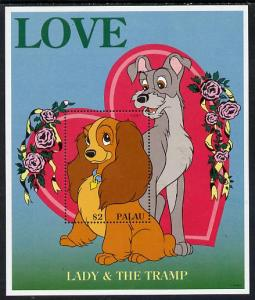 Palau 1996 Disney Sweethearts $2 m/sheet (Lady & The ...