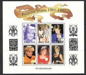 ZAMBIA 1998 PRINCESS 1998  DIANA SHEET MNH